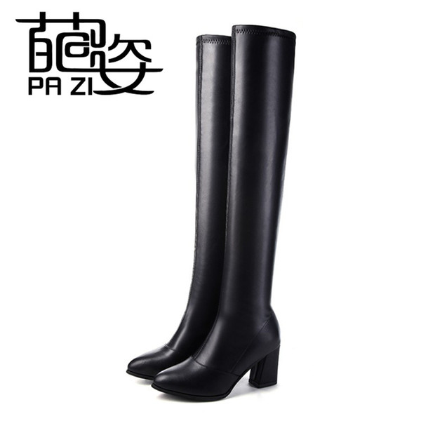 2018 Women Boots Stretch PU Leather Over The Knee High Sexy Ladies Party High Heels Platform Shoes Woman Black Plus Size