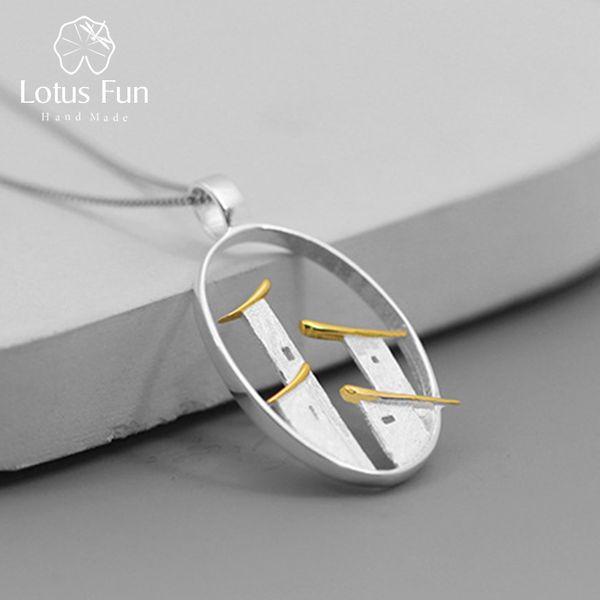 Lotus Fun Real 925 Sterling Silver Fine Jewelry Original Architecture Chinoise Style Ville De Jiangnan Pendentif Sans Chaîne pour Wom