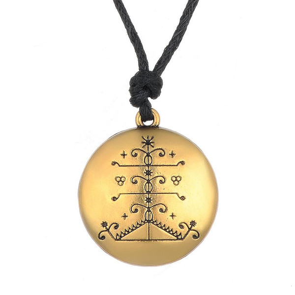 Viking Voodoo Loa Veve Pendant Vodoun Lwa Talisman Wiccan Pagan Ogou Feray Jewelry Amulet Rope Necklace for Men and Women