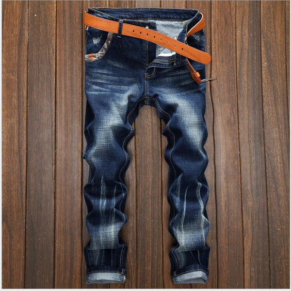 new men's jeans Ripped Holes pants Korean style elasticity casual trousers cool stretch man denim pants spring and summer