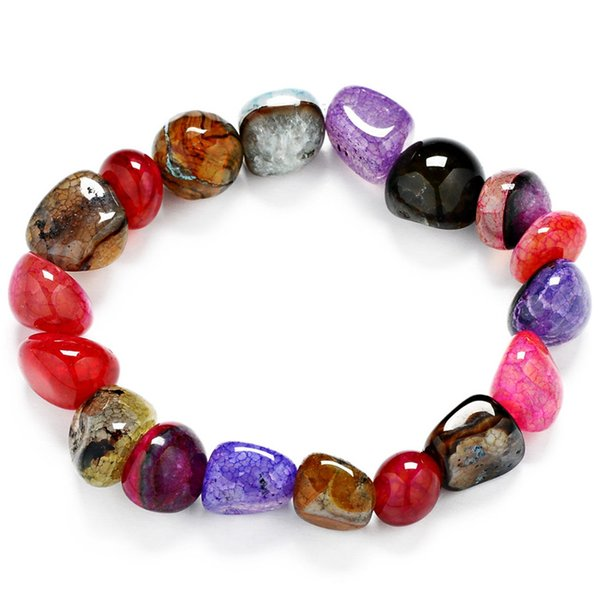 New fashion ladies necklace random colorful ice crack irregular natural gems hand string 10 * 11mm with color mixed agate bracelet