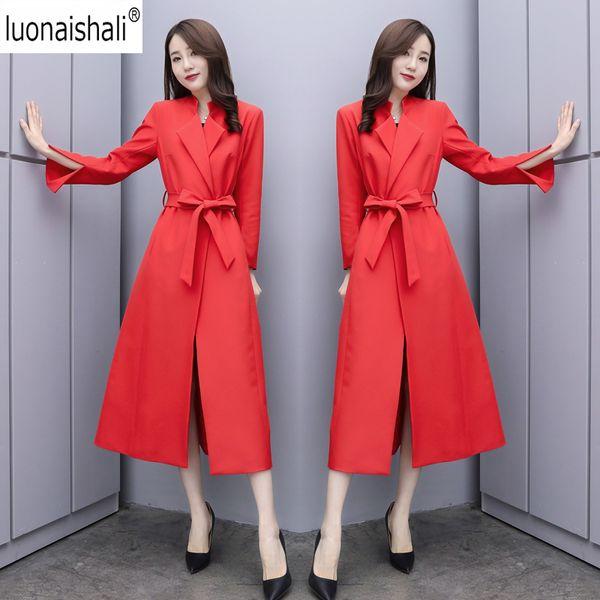 Mujer Femmes Trench Overcoat Automne Simple Rouge Noir Manches Fendues Longue Élégant Chic Manteau Ceinturé Femelle Cardigan Outwear Casacos
