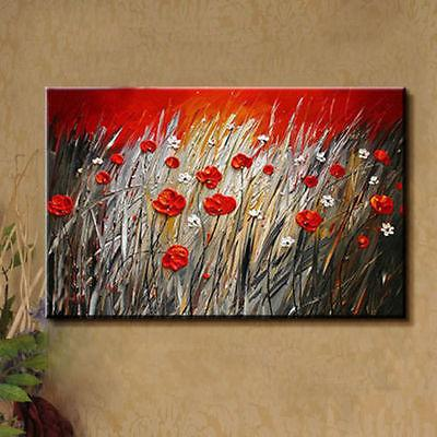Hand-painted Modern Wall Decor Art Oil Painting on Canvas,Red Flower(No Frame)
