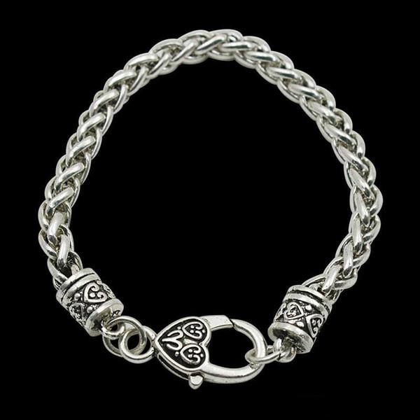 Fashion 20cm Vintage Statement Rope Girls Charm Bracelets Twisted Chain Bracelets With Large Heart Lobster Clasp 10pcs/lot FB068 Bracelet