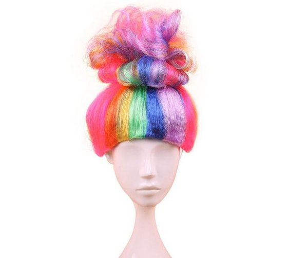 10pcs Trolls Poppy Wig For Kids Halloween Cosplay Synthetic Wig Costumes Cosplay Carnival Party Supplies Pink Blue Orange Green