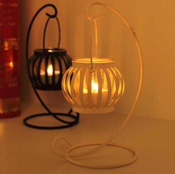 Wholesale Zakka Sundry Goods European Vintage Pumpkin Candlestick Metal Iron Hanging Lamp Candlestick Handicraft Black/White