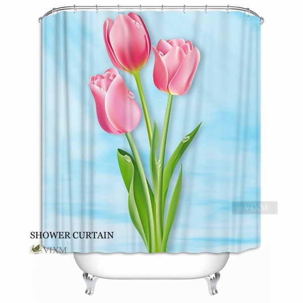 "Vixm Home Flamboyant flowers Fabric Shower Curtain Romantic flower customization Bath Curtain for Bathroom With Hooks Ring 72"" X 72"""