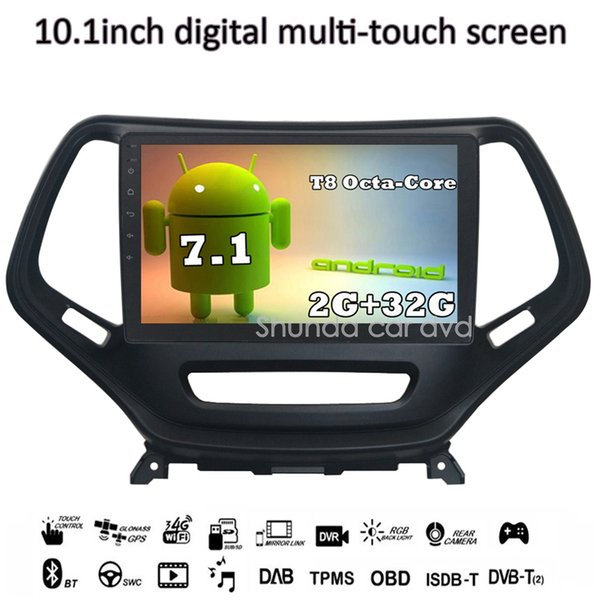SHUNDA 10.1 inch HD Android 7.1 T8 2G 32G for JEEP Cherokee car DVD player with 3G 4G GPS WIFI Navigation BT Radio SWC free map