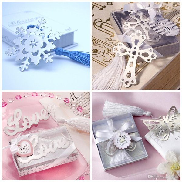 Exquisite Metal Bookmark Hollowed Out Design Wedding Favors Party Gift LOVE Letters Butterfly Snowflake Shape Bookmarks With Tassel 1 7ab ZZ