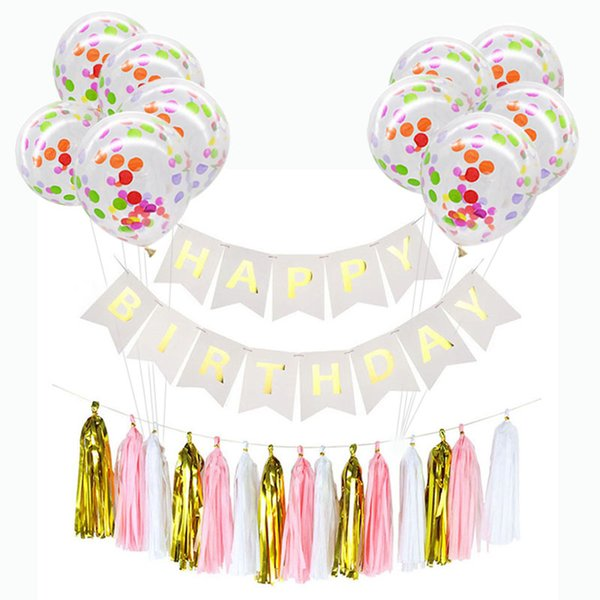 1set Happy Birthday Banners Paper Garland Tissue Paper Tassels Confetti Balloons Birthday Decoration Baby Shower Party Supplies