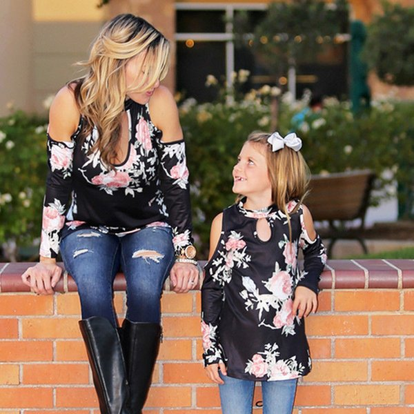 Mother Daughter kids Baby Girls Clothes Floral print off shoulder pullover T-shirts V-neck long sleeve cotton Tops one pieces