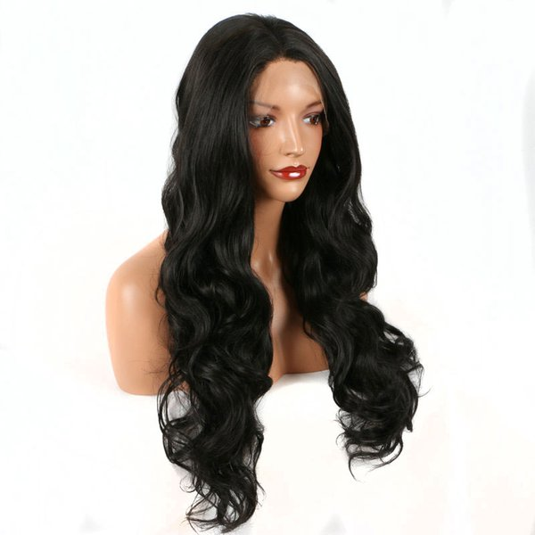 Synthetic Lace Front Wigs On Sale 180 Density Black Layered Body Wave Synthetic Wig Heat Resistant Fiber Natural Hairline