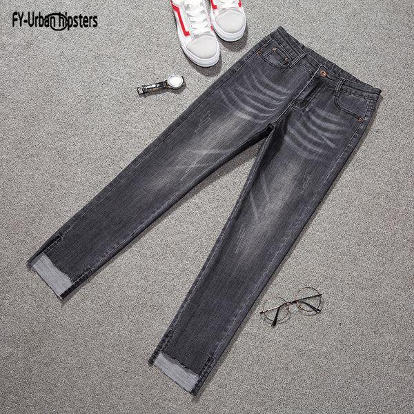 2018 Ladies Pencil pants fashion Nine asymmetrical thin jeans elastic waist women Slim jeans femme stretch plus size 5XL