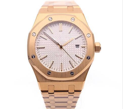 Wholesale - 2017 Royal Oak Offshore Mens Watch White Dial Transparent Back Original Clasp Automatic Mechanical Men Watches Rose Gold Stainle