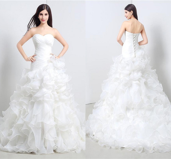 670f4fa83f Vestidos Elegantes Branco Plissado Querida Uma Linha Organza Até O Chão  Longo Festa de Casamento Da