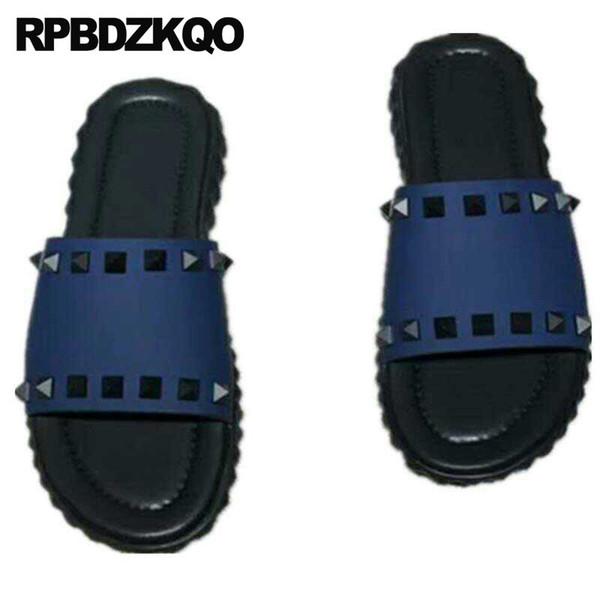 2018 Outdoor Slippers Sandals Open Toe Famous Brand Rivet Designer Shoes Men High Quality Genuine Leather Summer Slides Stud