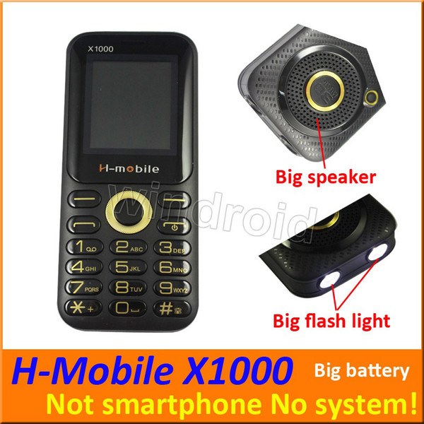 "H-Mobile X1000 1.8"" Cheapest Mobile Phone Dual Sim Quad Band 2G GSM Phone Unlocked with big Flashlight speaker battery whats app cheap 10pcs"