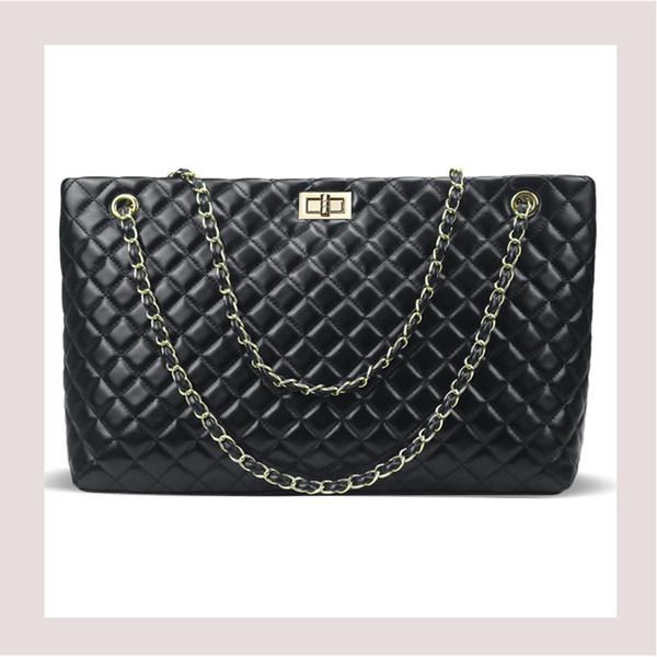 2019 Fashion Aminou 2018 Luxury Handbags Women Bags Designer Chain Crossbody Bag Large Ladies Plaid Messenger Shoulder Bag Black Big Bolsos