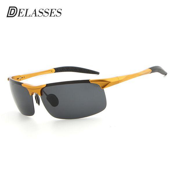 DELASSES Vintage Brand Designer Men Polarizing Sunglasses Male Aluminium Magnesium Half Frame 10 colors Driving sun glasses 8177