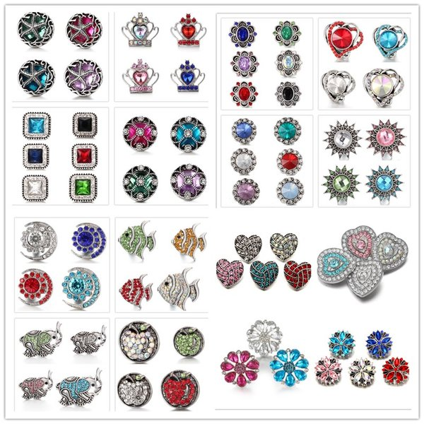 best selling Mixed Styles Noosa Chunks Snap Jewelry Heart moon Metal Snap Buttons Fit 18mm Snap Button Bracelet Necklace For Women Men