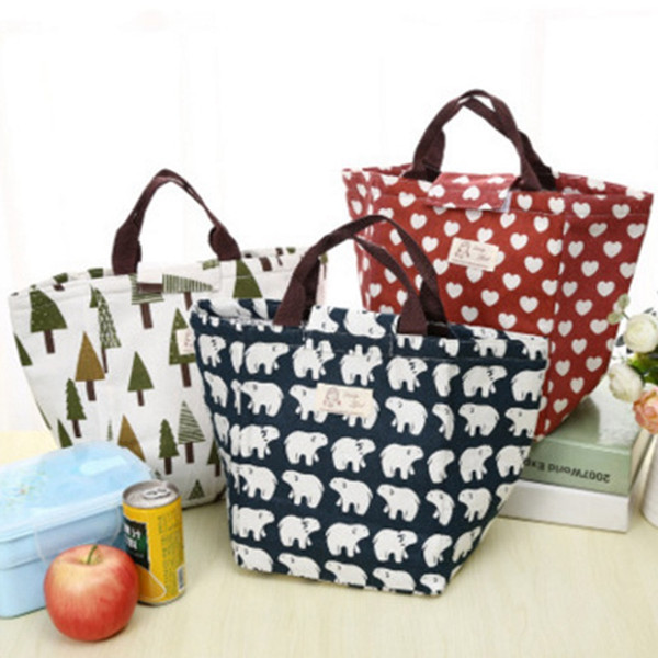 Wholesale 1 PCS Portable Thicken Waterproof Canvas Lunch Insulated Thermal Tote Bag Travel Tote Bag Free Shipping