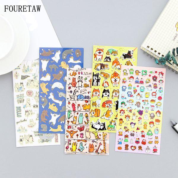 FOURETAW Novelty Cartoon Animals Dog Cat Stickers Diary Sticker Scrapbook Decoration PVC Stationery Fridge Magnets Stickers