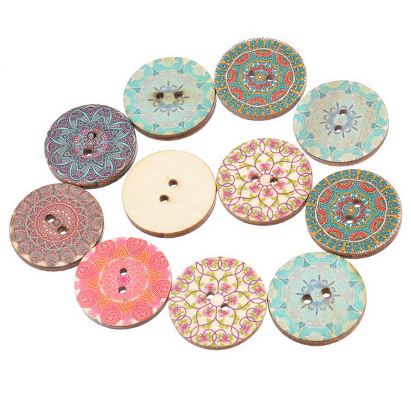 50PCs National Pure Wood Buttons Craft Scrapbooking Decoration Buttons 25mm Sewing Accessories Random Mixed