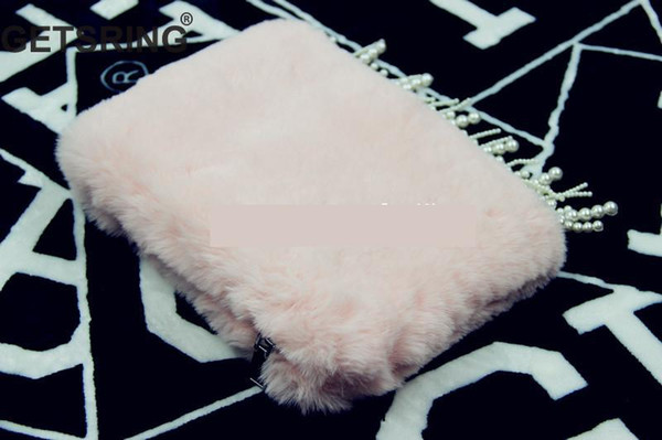 GETSRING Women Bag Womens Clutch Bag Velvet Pearl Tasse Levening Party Bags For Woman 2018 New Pink Day Clutch Vintage Fashion