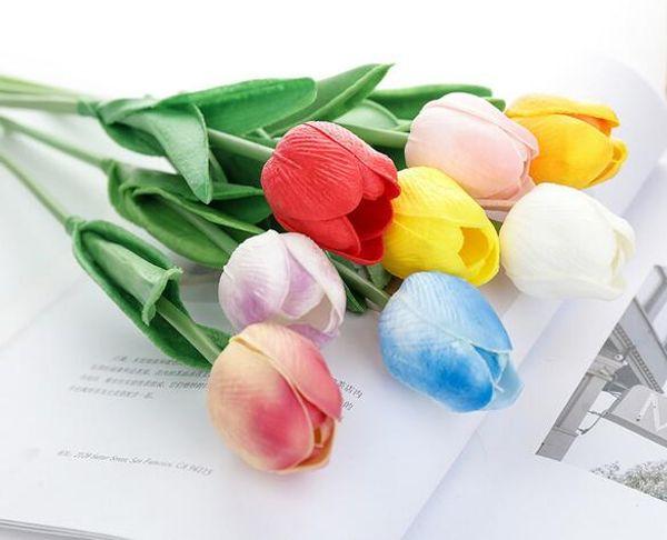 ПУ тюльпаны искусственные цветы реального касания artificiales пункт декора мини-Тюльпан для дома свадебные украшения цветы