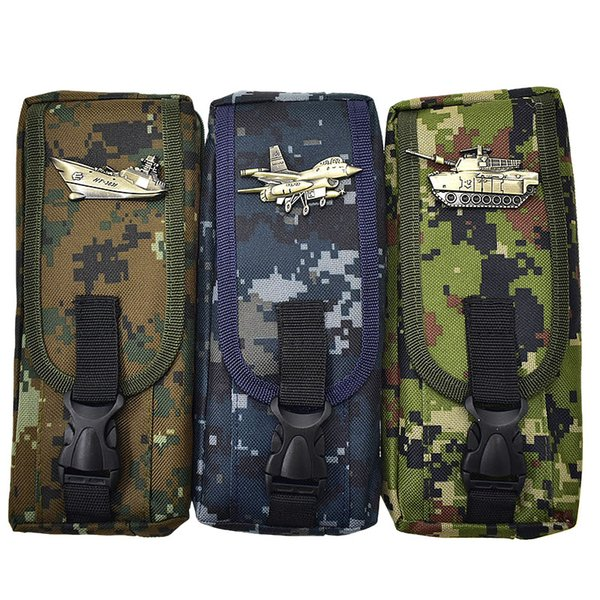 Creative Large Camouflage Pencil Case Oxford Zipper Canvas Pen Box For Kids Gift Korean Stationery