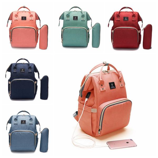 USB Interface Diaper Backpacks Large Capacity Waterproof Nappy Bag Kits Mummy Maternity Travel Backpack Nursing Handbag Storage Bags OOA5929