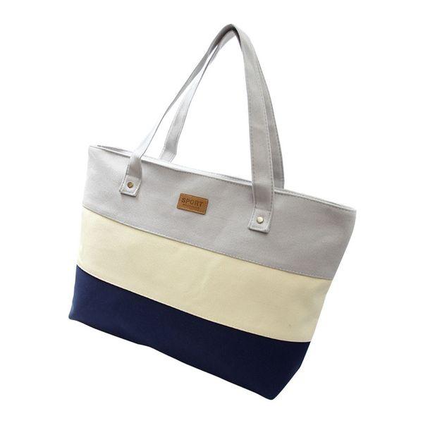 2017 Hot Women Ladies Stripes Canvas Shopping Bags Fashion Ladies Shoulder  Messenger Bag Summer Beach Handbag Brand Totes 1602c349ff4aa