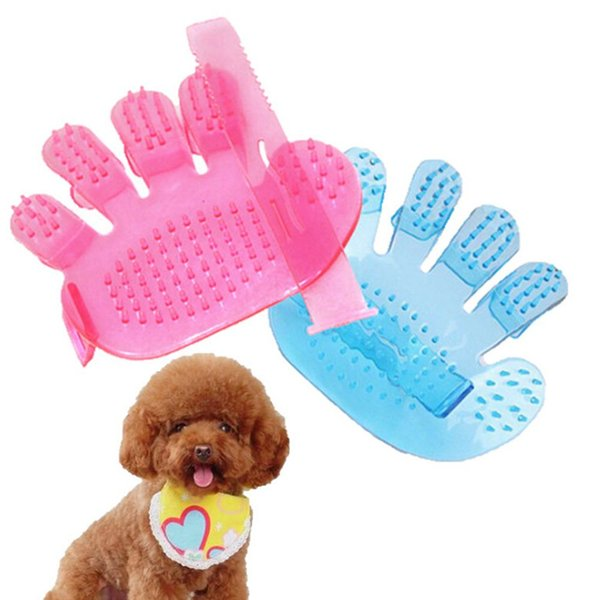 Pet Supplies PVC Plastic Dog Cleaning Bath Comb Shower Brush Grooming Brushes Massage Glove for Dogs & Cats Five Finger Design