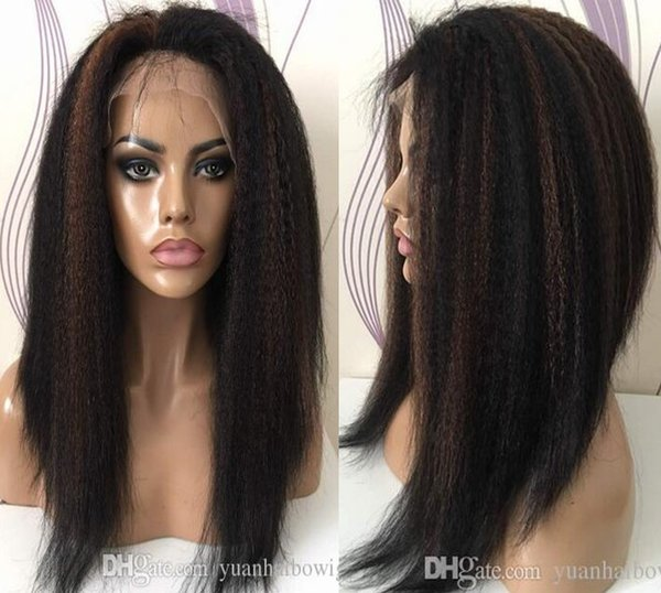 Kinky Straight Highlight Color Front Lace Wig in Stocks 150% Density Full Lace Wig Virgin Brazilian Hair Glueless Wigs Free Shipping