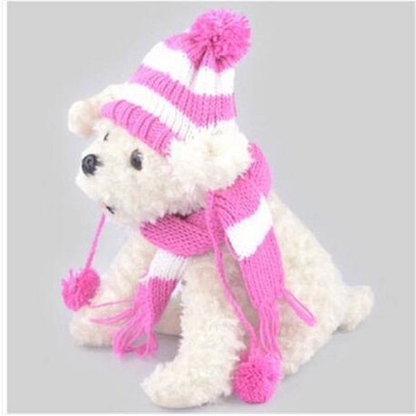 2018 Wholesales free shipping hot sales Caps Scarf Dog Suit Hat Hat Scarf Set Dog Apparel Hat