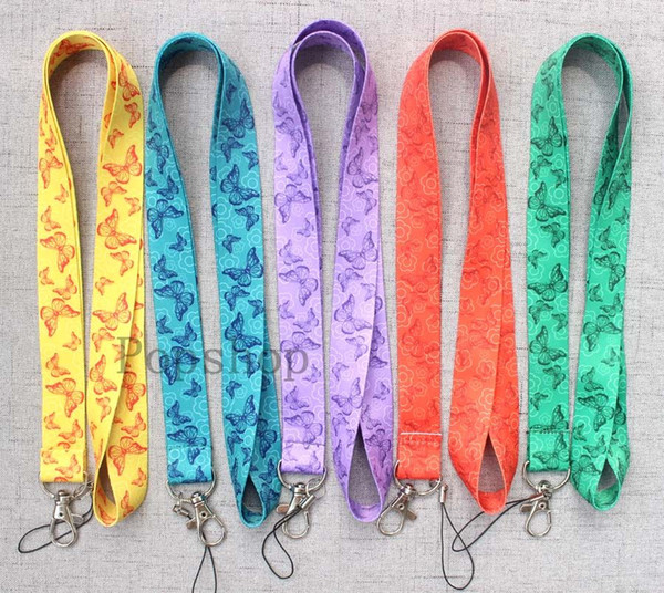 High-quality 50Pcs Heat transfer printing Cartoon 3D butterfly pattern Mobile Phone Necklace Strap Lanyards New Design Style