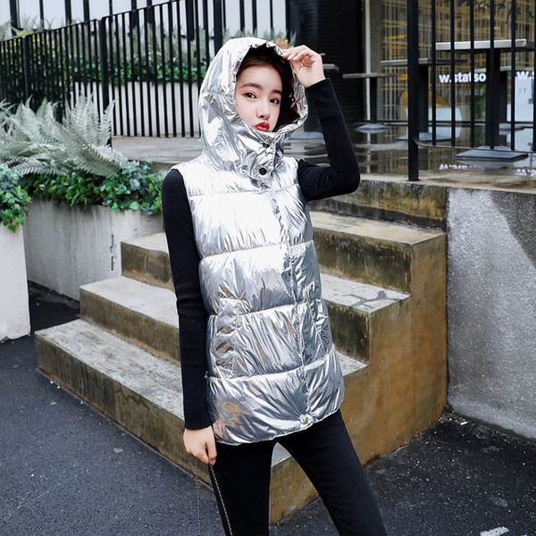 Silver Metal Bright Vest Women Zipper Pocket Jacket Winter Warm Women's Down Vest With Hood Womens Coat Colete Feminino New