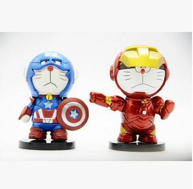 2pcs/set Doraemon Cosplay Iron Man Captain America Anime Action Figure Collection toys for christmas gift Free shipping