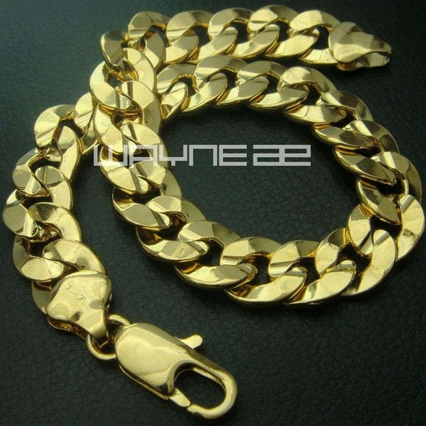 18k yellow Gold GF mens ladies solid bracelet bangle ring links chain jewelry