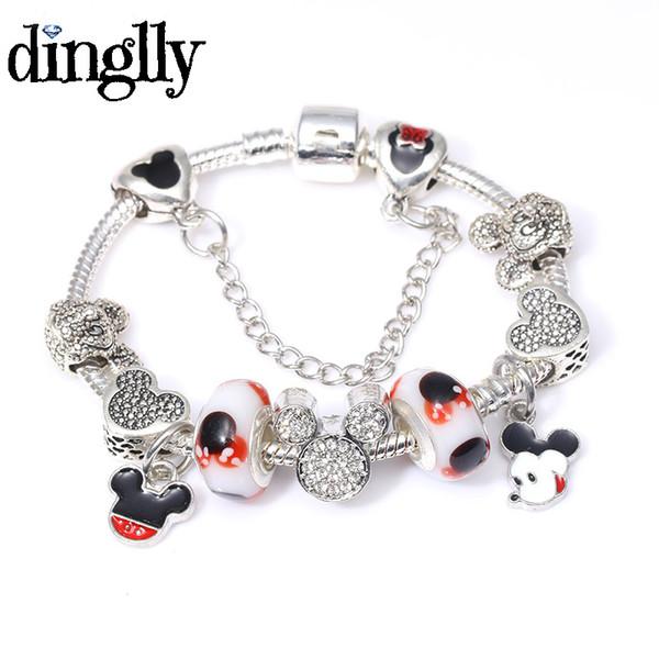 DINGLLY Cute Charms Bracelet For Women Murano Glass Beads Fits European Bracelets DIY Jewelry Gift