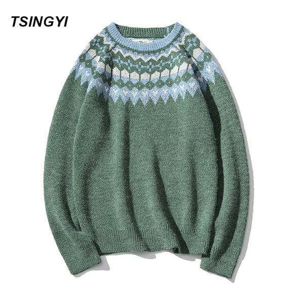 Vintage Christmas Sweaters.Tsingyi Pullover Man Christmas Sweater Brand Knitted Cashmere Sweater Men Vintage Xmas Beige Green Color Snow Mens Sweaters Canada 2019 From Bairi