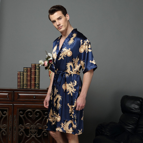 2018 Chinese Dragon Male Silk Dressing Gown Mens Satin Robe Robe ...
