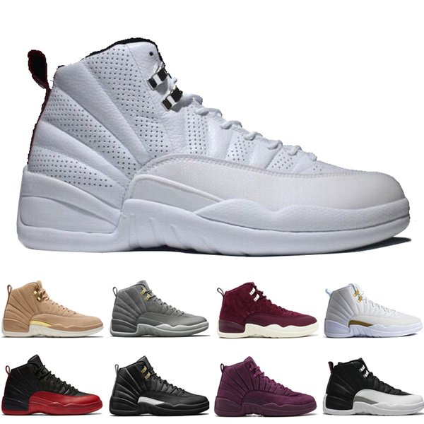 12 12s men basketball shoes Wheat Dark Grey Bordeaux Flu Game The Master Taxi Playoffs PSNY Purple Blue Red Suede trainers Sports sneakers