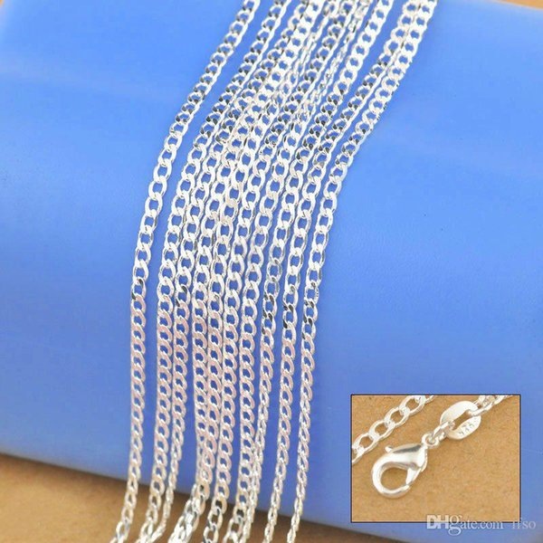 925 Sterling Silver Necklace Genuine Chain Solid Jewelry for women 16-30 inches Fashion Curbwith Lobster Clasps Free Shipping