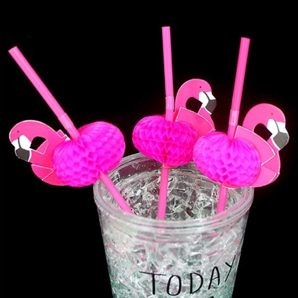 New Arrival 50Pcs/set Pink Flamingo Straw 3D Bendy Flexible Plastic Drinking Straw Wedding Decoration Tropical Party Supplies