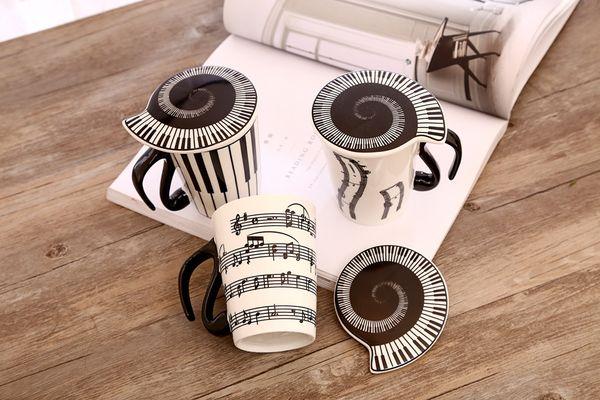 Musicien en céramique créatif tasse de café tasse à thé avec couvercle notes de musique comme cadeaux de professeur de Saint Valentin 60pcs
