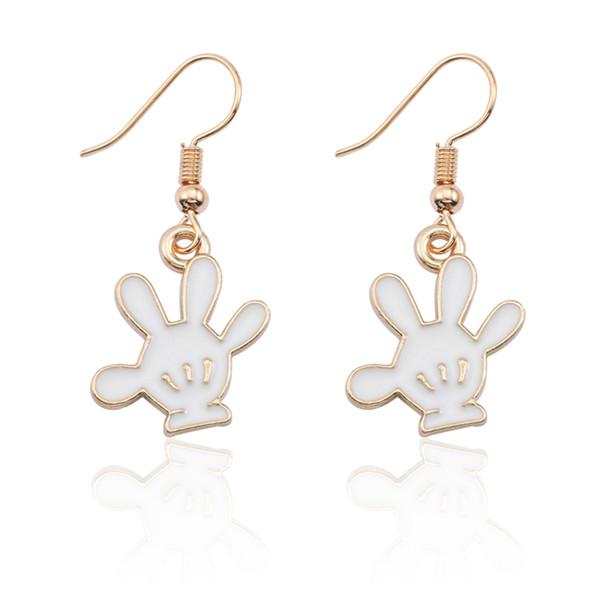 DIY boucles d'oreilles pour femmes mignonne Anime Animal boucles d'oreilles pour les filles à la mode pendentif de bande dessinée Mickey gant Black Earing bijoux cadeau