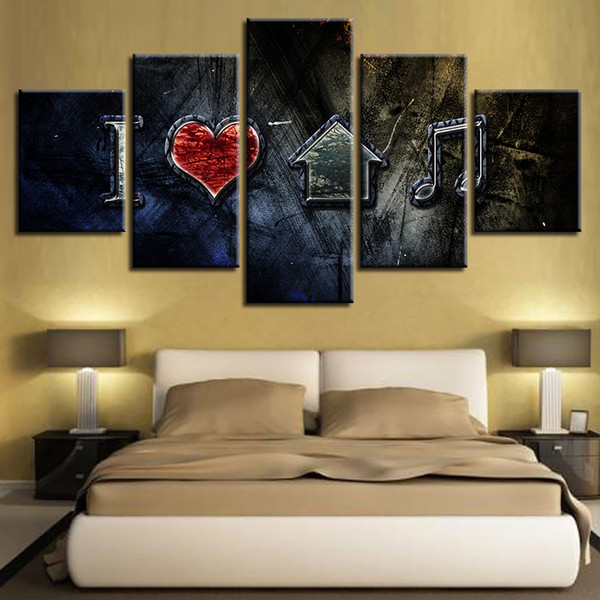 Canvas Wall Art Pictures Framework Home Decor 5 Pieces HD Printed I Love House Music Posters Modular Living Room Retro Paintings