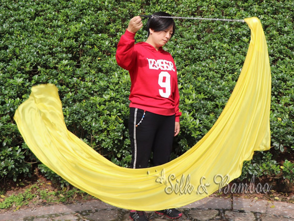 "plain yellow, 1 piece 2.3m*0.9m(90""*35"") detachable hand painted belly dance silk veil poi, real flowy silk!"