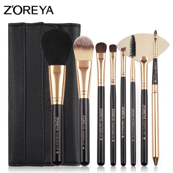 ZOREYA Makeup Brushes 8 pcs Make Up Brush Set Pony Hair With Leather Bag As Essential Makeup Tools For Daily Beauty